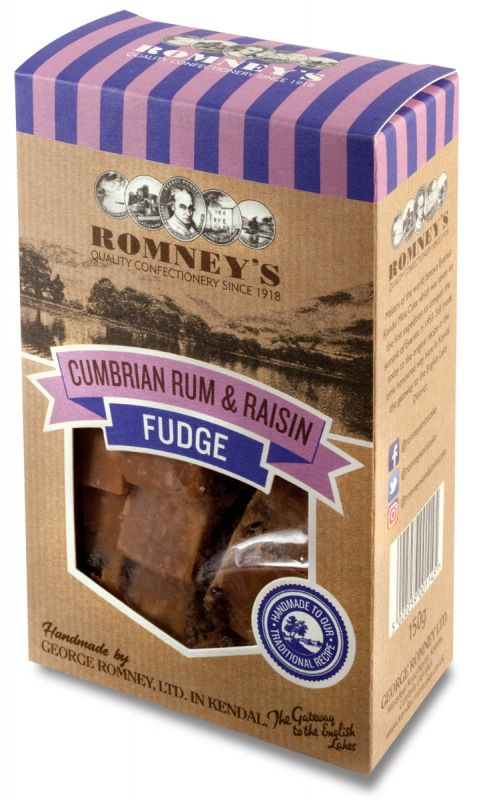 Romneys Cumbrian Rum & Raisin Fudge 150g x 9