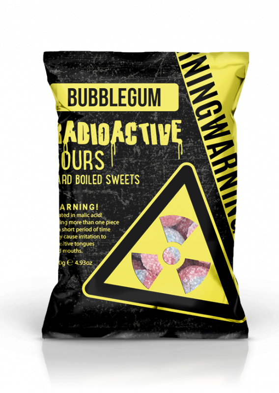Radioactive Sours Hang Bag  - Bubblegum 140g x 12