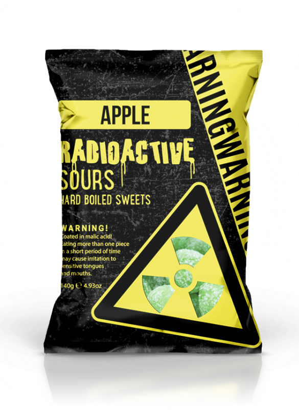 Radioactive Sours Hang Bag  - Apple 140g x 12