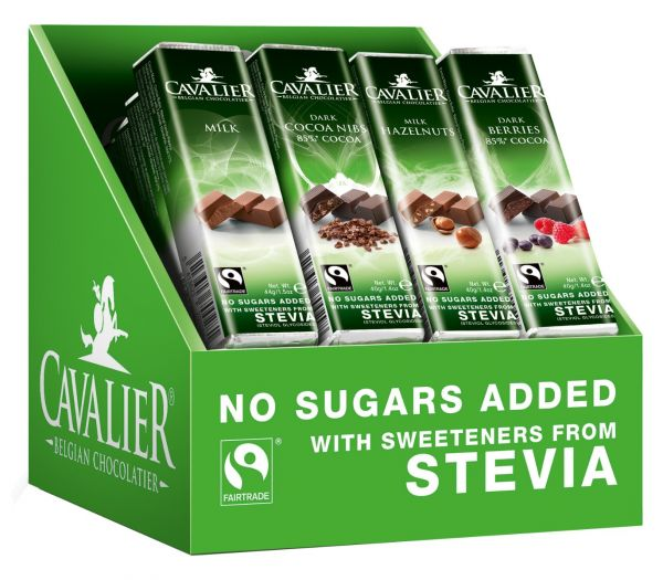 Cavalier Assorted Solid Stevia Bars (Milk 44g, Milk Hazelnut 40g, Dark Cocoa Nibs 40g, Dark Berries)