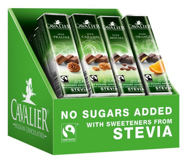 Cavalier Assorted Stevia Bars (Milk Praline, Milk Caramel, Dark Mocha, Dark Orange) 40/44g x 32