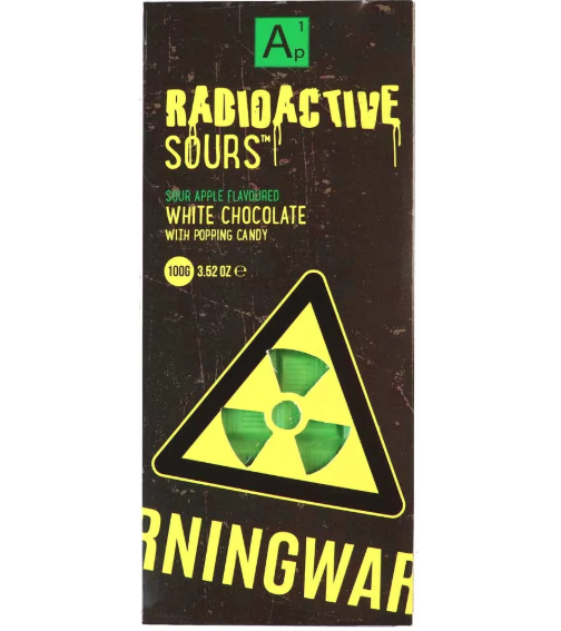 Radioactive Sours Chocolate Bar - Apple 100g x 24