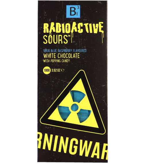 Radioactive Sours Chocolate Bar - Blue Raspberry 100g x 24