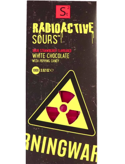 Radioactive Sours Chocolate Bar - Strawberry 100g x 24