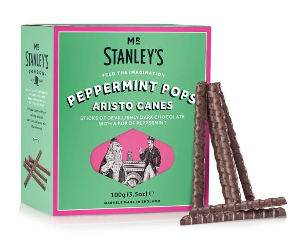 Peppermint Pops Aristo Canes ( Dark Chocolate & Peppermint Flavour Sugar Crunch) 100g x 12