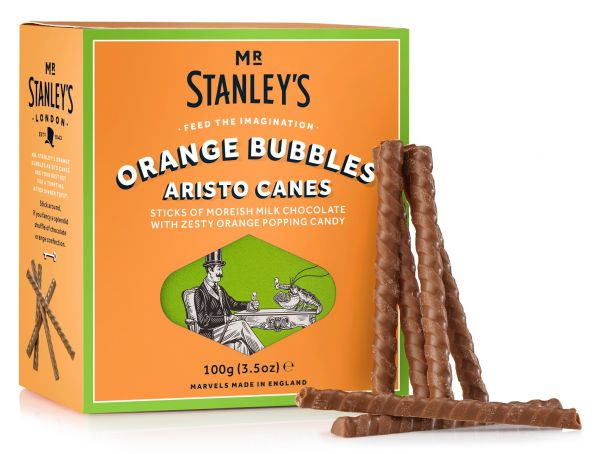 Orange Bubbles Aristo Canes ( Orange Flavour Milk Chcoclate & Popping Candy) 100g x 12