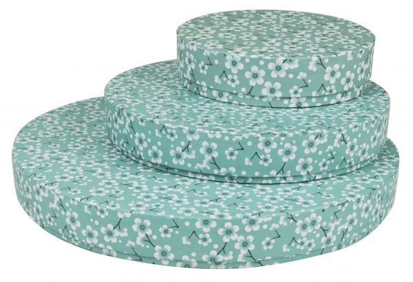 Teal Floral Single Layer  Round Box 500g (200x30) x 12