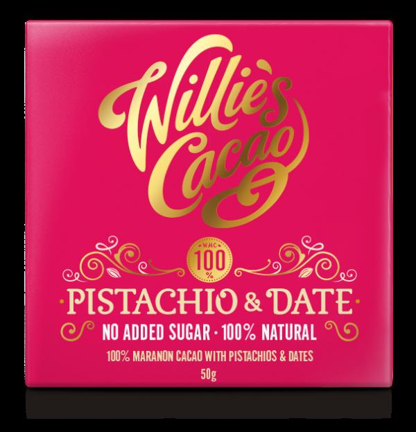 DATE & PISTACHIO 100% Rio Maranon cacao with dates and pistachios 50g x 12