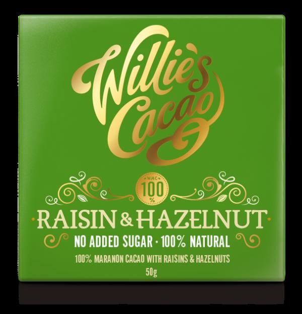 RAISIN & HAZELNUT 100% Rio Maranon cacao with yellow raisins and hazelnuts 50g x 12