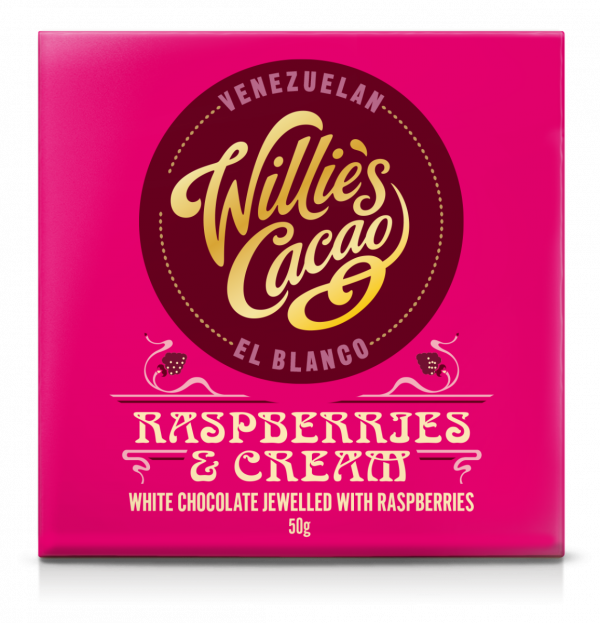 RASPBERRIES & CREAM El Blanco white chocolate jewelled with raspberries 50g x 12