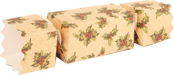 Kraft Holly Christmas Cracker 30x30x61mm x 25
