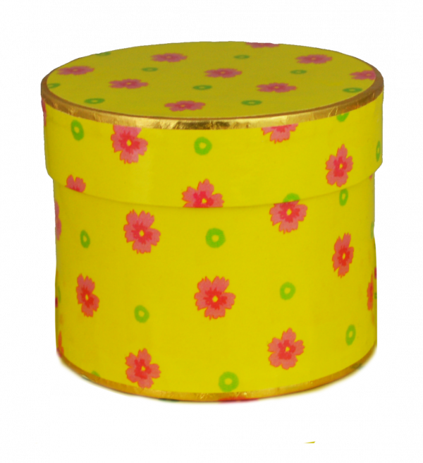 Yellow Floral Round Double Layer 125g x 10 67mm high