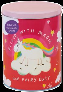 Happy News Unicorn Tin with Unicorn & Star Shaped Jellies 400g x 3